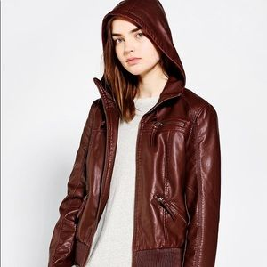 Urbanoutfitters vegan leather hooded bomber jacket
